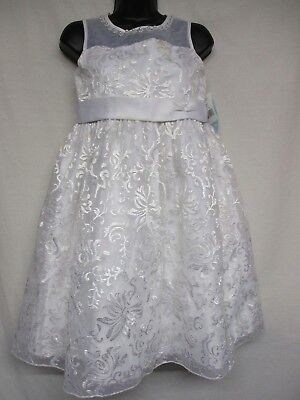 American Princess Big Girls White Embroidered Flower Beaded Dress Size 12.5   p9
