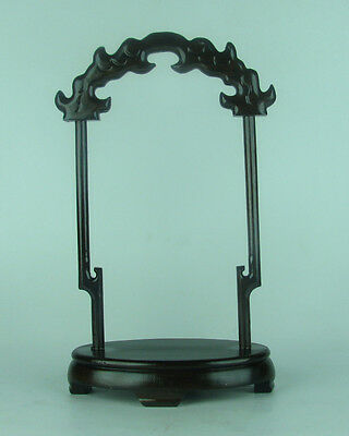 Chinese black Hei-zhi hard wood carved pendant display stand ebony shelf