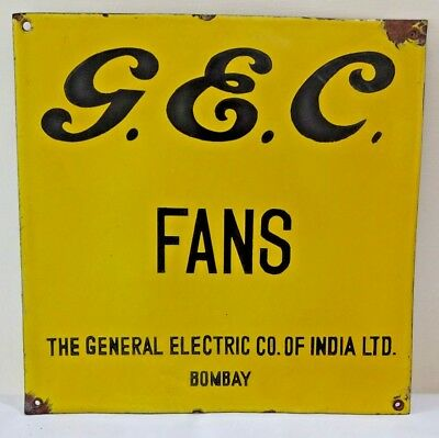 Antique Ceiling Fan General Electric Company Porcelain Enamel Sign Collectibles