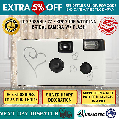10x Hearts Disposable 27 Exposure Flash Camera w/ Table Card Wedding Bridal New