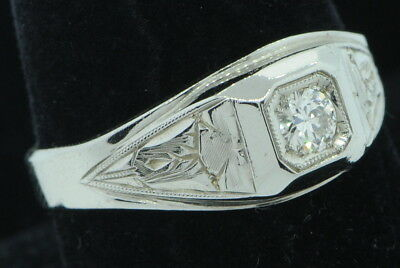 Art Nouveau NAB (ca. 1930) 18K White Gold Hand Engraved Diamond Ring (Sz 10+)