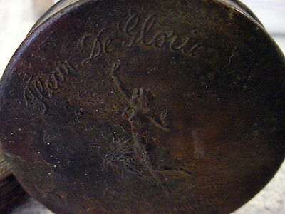 vTg FLEUR De GLORIE TALCUM PUFF NY USA POWDER EARLY TIN Vanity Compact Art Deco