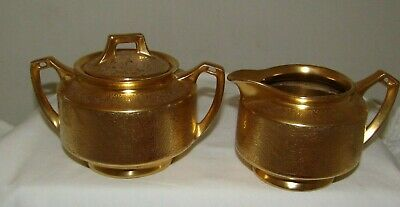 PA Arzberg Bavaria Gold Encrusted Ceam Pitcher Creamer  & sugar bowl