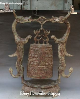 50cm Collect Antique Bronze Ware Temple Dragon Beast Hanging Zhong Bell Statue