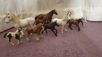 Schleich Mare and Foal Bundle. Nine Horses. Very good condition.