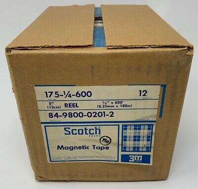 Scotch Magnetic Tape 175 1/4 Inch X 600 Feet New Case/12 Factory Sealed 19-529B