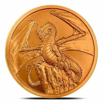 Welsh Dragon 1 oz BU Copper Coin, 2019 World Of Dragons Series #2, USA