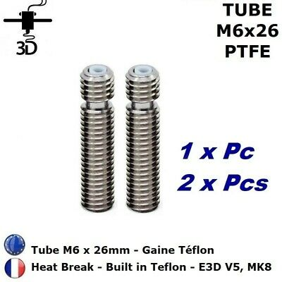 Tube M6 x 26 mm Heat Break 1.75 mm PTFE  Extrudeur V5, MK8 Imprimante 3D Printer