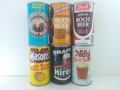 Vintage Rootbeer Cans Clean Lot of 6 Mason's Hillcrest Barrelhead Nehi Root Beer