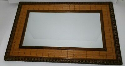 Vintage Wicker Rattan Weave Framed Wall Mirror - Mid Century Chinoiserie Style