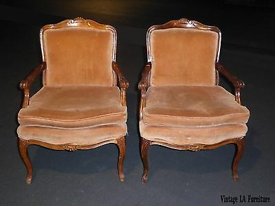 Pair Sam Moore Vintage French Provincial Lite Coral Velvet Carved Accent Chairs