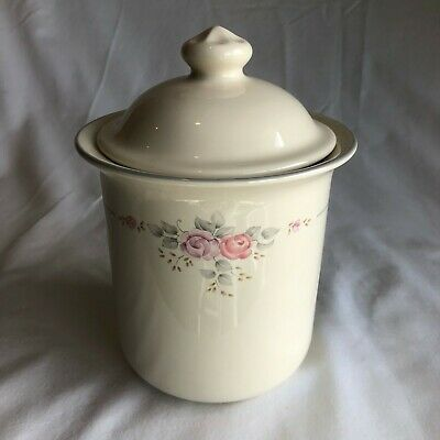 """Pfaltzgraff Trousseau Rose Cookie Jar Canister with Lid 10"""""""