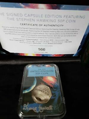 2019 Stephen Hawking BU 50p coin The signed Capsule Edition No166 cased with COA