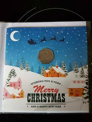 2018 Snowman 50p UK with Christmas Card Gift brand new Uncirculated