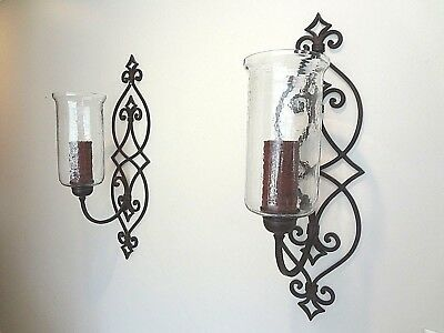 """EX LARGE TUSCAN  32"""" H IRON Candle Holder Hurricane Glass Wall Sconce SET of 2"""