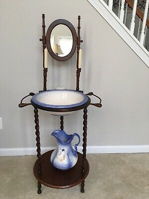 Vintage Antique Wash Basin Bowl Stand Solid Wood ironstone Pitcher & Bowl/Mirror