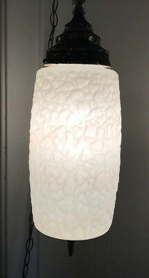 Vintage Mid Century modern ART DECO frosted white glass nickel Swag Lamp light