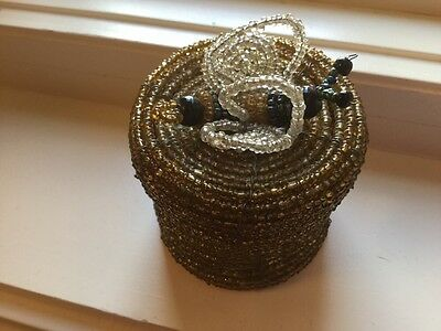 BEAUTIFUL Beaded Hexagon Tuffet Style Box with Cirtine Ring...HAND BEADED /& One of A Kind Ring