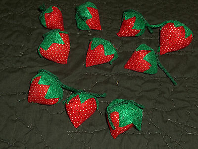Lot of 10 Handmade Dotted Red BOWL FILLERS STRAWBERRY STRAWBERRIES LOT 2""
