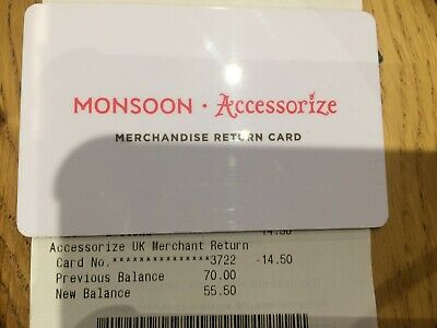 Monsoon/Accessorize Gift Card with Reciept - worth GBP 55.50