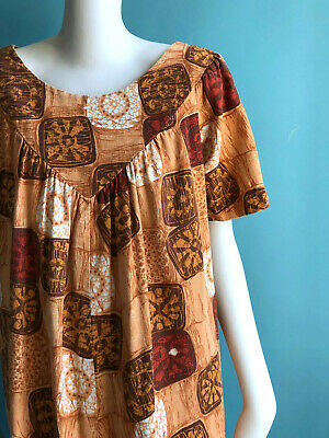 Vintage 1960s Hawaiian Bark Cloth Dress Caftan Summer Resort Cabana Chic sz M L