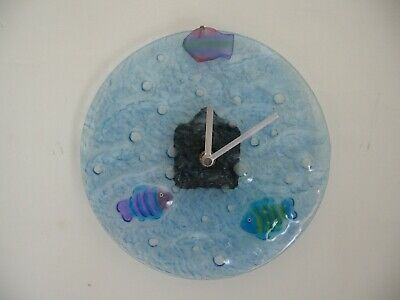 21cm Round Blue Textured Glass Wall Clock -  Water Sea Fish Theme - excl cond