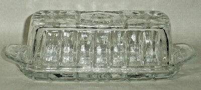 Anchor Hocking Pressed Glass Clear Covered Butter Dish, Star of David