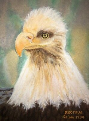 "Vintage Hand Painted Bald Eagle Painting G. Rotoue 1994 10"" X 13"""