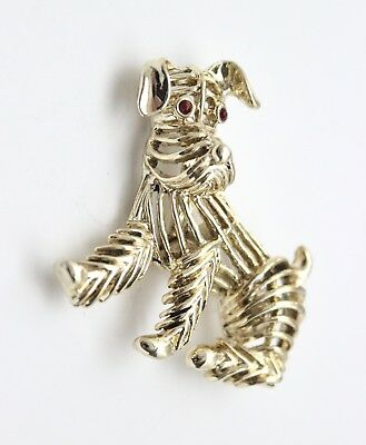 Vintage Dog Pin Gerrys Brooch Gold with Red Rhinestone Eyes Open Wire Work CUTE!