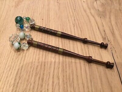 Pair of Spangled Lace Bobbins decorated with fine wire