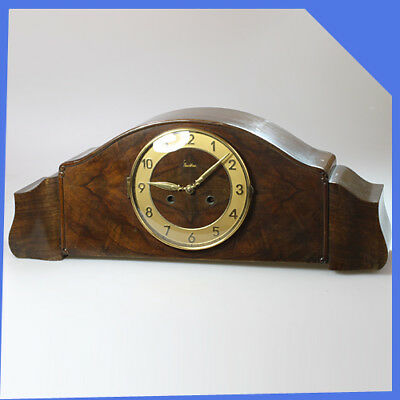 MAUTHE Germany Wooden Brass Mantel Shelf Table Mechanical Wind up Clock Chimes