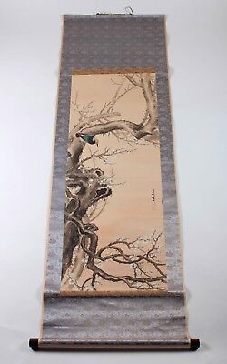 Antique Oriental Watercolor Silk Scroll, Stamped