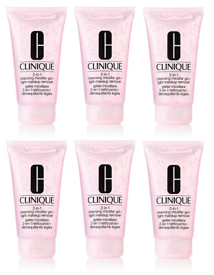 6 x CLINIQUE 2-in-1 CLEANSING MICELLAR GEL 30ml (180ml Total) NEW - FREE P&P