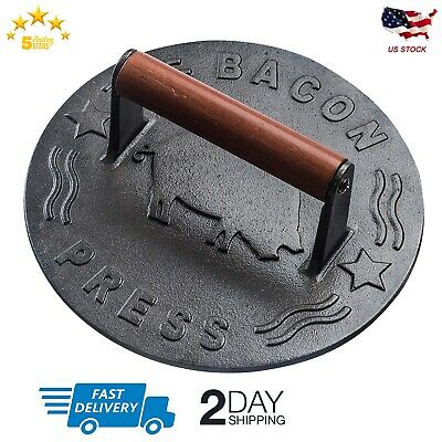 Cast Iron Grill Press, 8.75-Inch Round Heavy-duty bacon press with Wood Handle