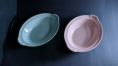 "Vintage Lu Ray Pastels Serving Bowls Oval 10"" Green Pink"