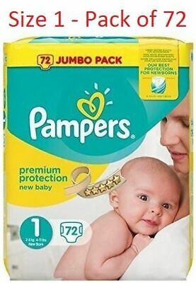 Pampers Size 1 New Baby Jumbo Box Nappies - Pack of 72 Nappies