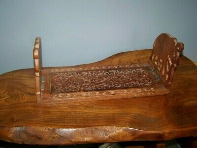 Indian Carved Wooden Book Stand Adjustable Fold Elephant Ends
