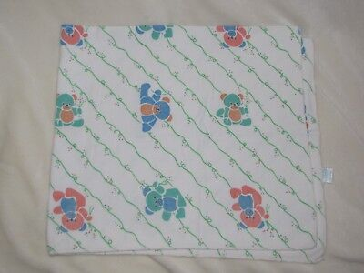 Vintage Riegel Pastel Teddy Bear Cotton Flannel Hospital Receiving Blanket Baby
