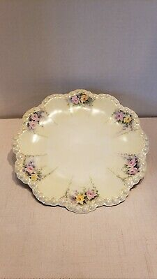 "Antique Limoges 9 1/2"" Hand Painted ~ Signed~ Franc~ Scalloped Beaded Gilt Plate"