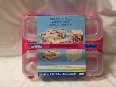 """Cre8ted Space Stackable Caddy Organizer Pink Acrylic 14"""" x 6.5"""" x 10.5"""" NEW 4 pc"""