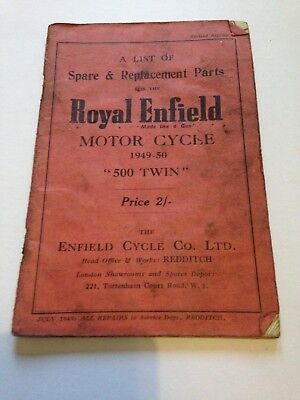 Royal Enfield Motor Cycle Parts Spares List 1949-50 500 Twin Booklet Vintage