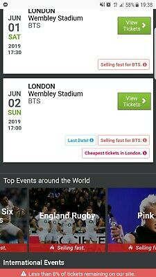 4x BTS London Concert Tickets Wembley 2nd June 2019 seated block 522 , 214.....