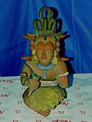 Ancient Mayan Warrior Aztec Inca Mexican Clay Art Figurine Statue Folkart