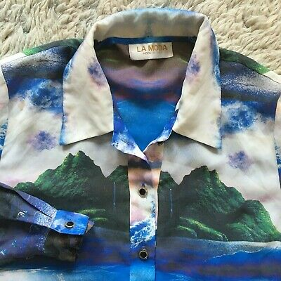 La Moda Vintage Whale Island Tropical All Over Art Shirt Wearable Made in Italy