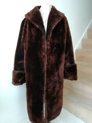 Vintage real fur long coat big collar brown Goodwood Twinwood