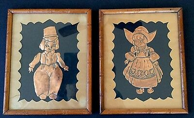 Copper Raised Relief Art Pressed Dutch Girl And Boy Wall Plaque Framed