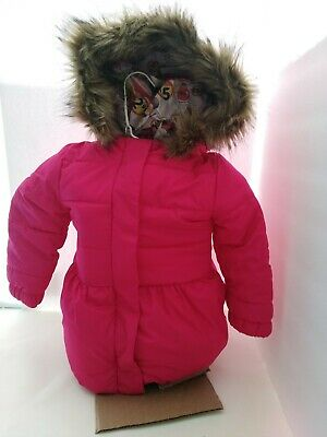 9dff7b7b8e12 BABY GAP Girls Size 2 years Jacket Hot Pink Puffer Coat Faux Fur Hood *see