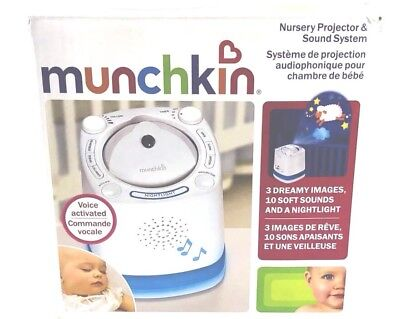 Voice Activated Munchkin Nursery Projector and Sound System E598 White Baby