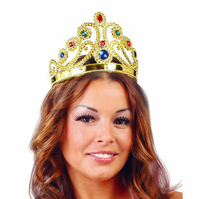 New Adults Queen Royal Gold Tiara Crown Nativity Majestic Fancy Dress Accessory