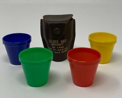 Shot Glass Set Of 4 Silver Bar Whiskey Leather Snap Holder Vintage 19-491